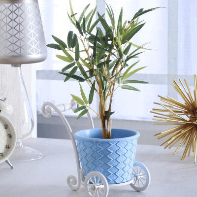 Sky Blue Plastic Cart Vase
