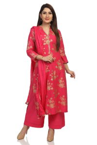 Pink Straight Cotton Suit Set