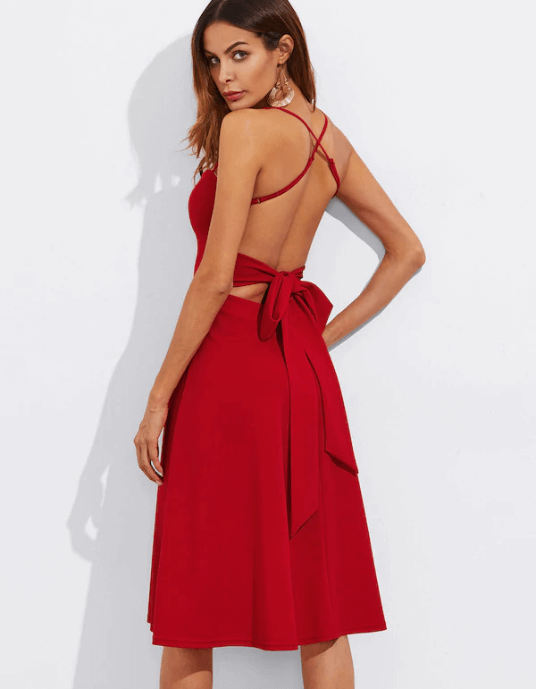 Tie Back Flared Cami Prom Dress