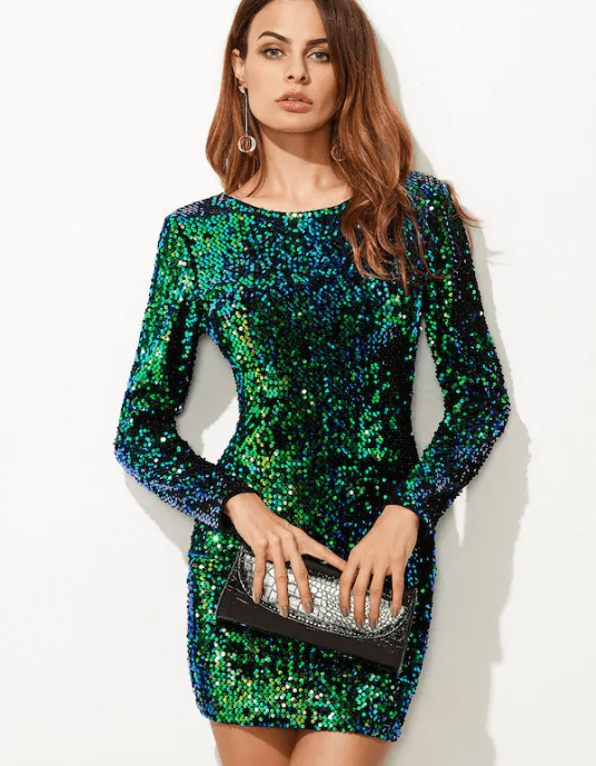 Back Sequin Bodycon Mini Dress