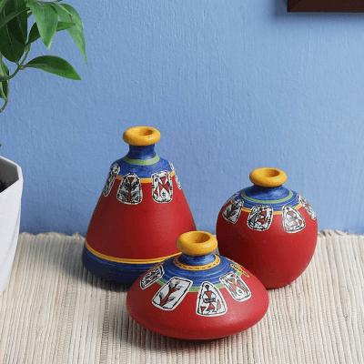 Red Terracotta Warli Vases