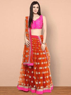Lehenga Choli Set - Pink & Orange