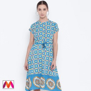 Buy Bronz Women Blue Printed A-Line Dress