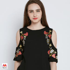 Shop Women Black Embroidered Detail Top