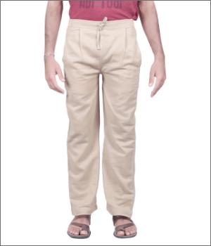 Men Beige Knitted Drawstring Pants - Organic Cotton