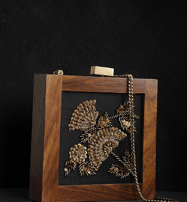 Black-Brown Embroidered Wooden Clutch