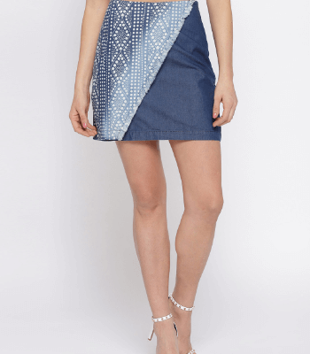 Blue Printed Chambray Skirt