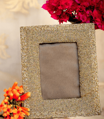 Hand Beaded Frame With Box