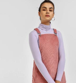 KOOVS Basic Corduroy Pinafore Dress