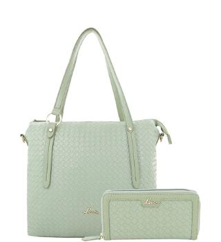 Lavie Nadine Mint Green Interlaced Shoulder Bag with Wallet