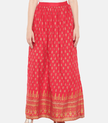 Women Pink Printed A-line Maxi Skirt