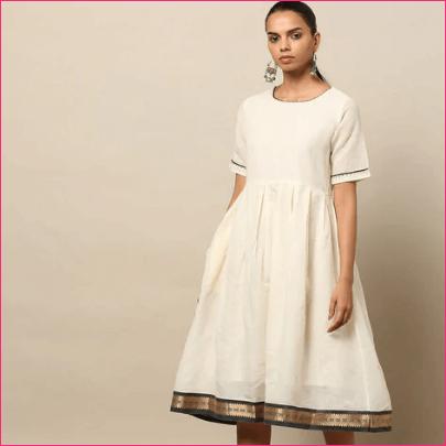 Indie Picks Kerala Kasavu Dress
