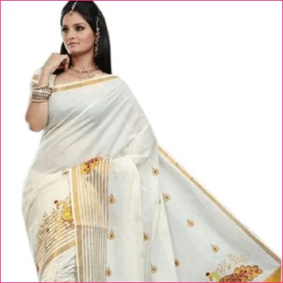 Selvamani Tex Embroidered Kasavu Cotton White Saree