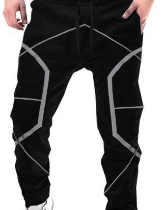 Geometric Print Men Black Track Pants