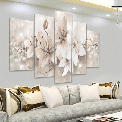 5 Panels Love Flowers Decorations Wall Art Print Pictures