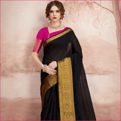 Black Chanderi Cotton Designer Saree