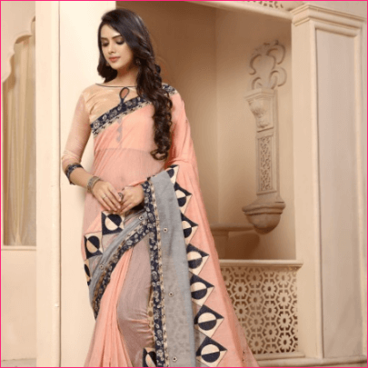 Peach Chanderi Cotton Resham Saree