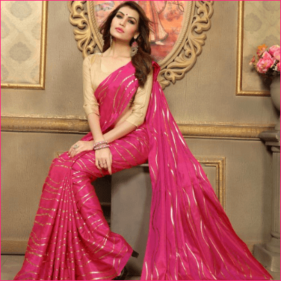 Pink Art Silk Designer Solid Saree