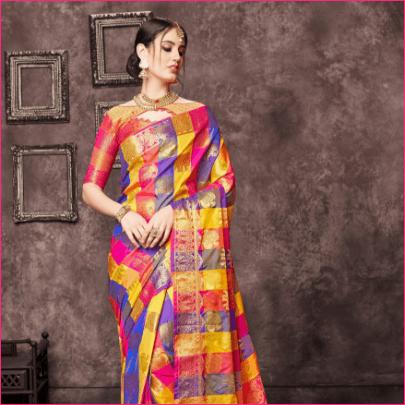 Craftsvilla Pink Banarasi Silk Designer Saree
