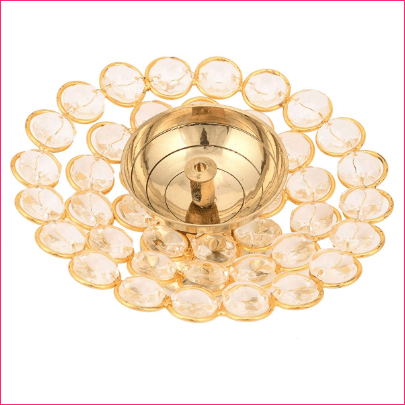 India Crystal Akhand Diya Oil Puja Lamp