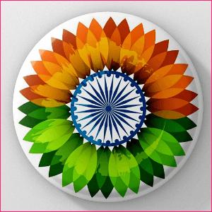 India Flag Flower Design Independence Day Badge