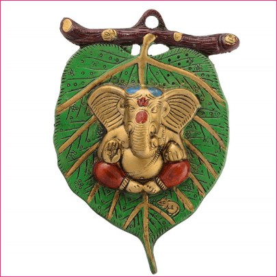 Lord Ganesha on Leaf White Metal Wall Hanging