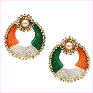 Handmade Round Tri Color Dangle Earrings for Women