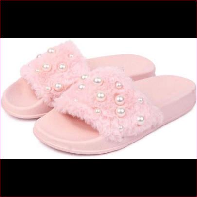 Buy Brauch Pink Fur Pearl Sliders Slides