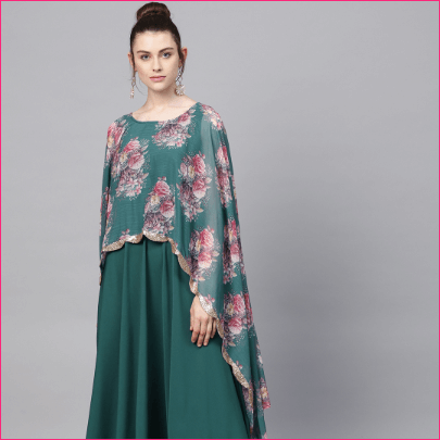 Women Green & Pink Floral Print Layered A-Line Kurta
