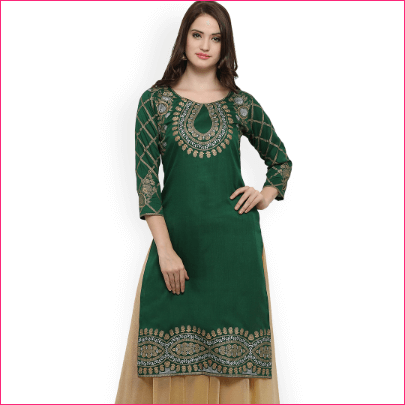 Ahalyaa Women Green Solid Straight Kurta Myntra