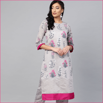 Pink Chanderi Silk Kurta with Trousers