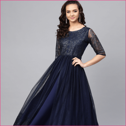 Myntra Women Navy Blue Embellished Layered Anarkali Kurta