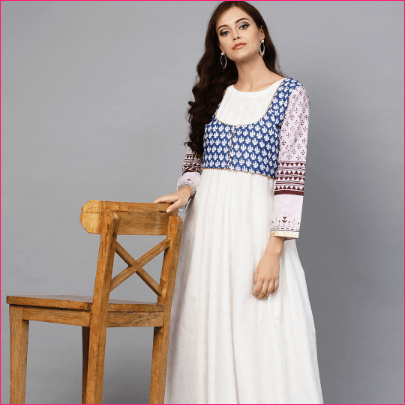 Women White & Blue Printed Anarkali Kurta