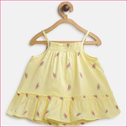 Baby Girl Printed Spaghetti Dress