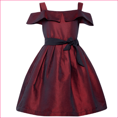 Stylo Bug Girls Maroon Solid Fit and Flare Dress