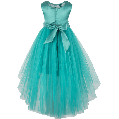 Girls Sea Green Embellished Fit and Flare Dress