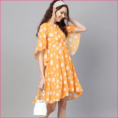 Yellow White Polka Dot Print Empire Dress
