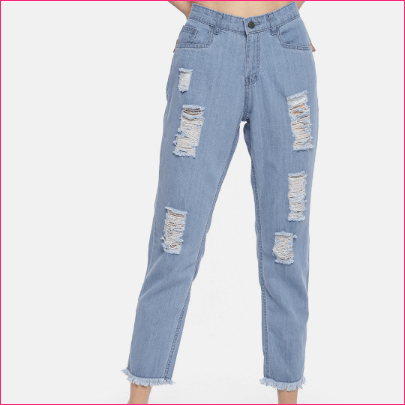Women Blue Boyfriend Fit Mid-Rise Highly Distressed Jeans