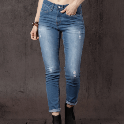 Women Blue Skinny Fit Mid-Rise Low Distress Stretchable Jeans