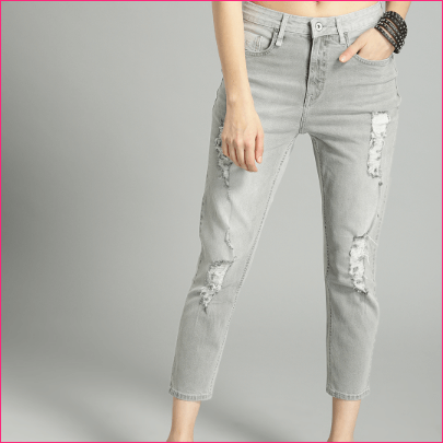 Women Grey Contrast Back Distressed Crop Boyfriend High-Rise Stretchable Jeans