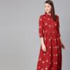 rare-roots-women-maroon--golden-printed-midi-a-line-dress