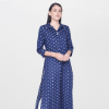 AND Blue Printed A-Line Kurta