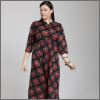 Pluss Red Printed A-Line Kurta