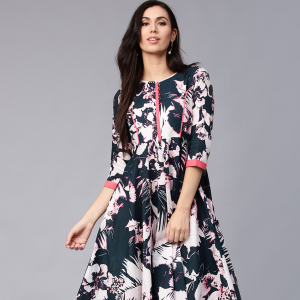 Women Navy Blue Tropical Print Maxi Dress myntra