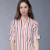 Women White Striped Shirt Style Top