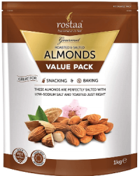 Rostaa Salted Almonds Value Pack, 1kg