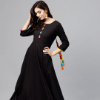 Nayo Women Black Solid Maxi Dress
